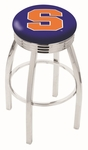 Syracuse University 25'' Chrome Finish Swivel Backless Counter Height Stool with 2.5'' Ribbed Accent Ring [L8C3C25SYRCSE-FS-HOB]