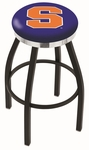 Syracuse University 25'' Black Wrinkle Finish Swivel Backless Counter Height Stool with Chrome Accent Ring [L8B2C25SYRCSE-FS-HOB]