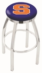 Syracuse University 25'' Chrome Finish Swivel Backless Counter Height Stool with Accent Ring [L8C2C25SYRCSE-FS-HOB]