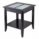 Syrah End Table with Frosted Glass [92122-FS-WWT]