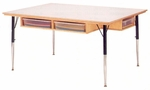 Six Person Table with Storage and White Melamine Tabletop [55223JC-JON]