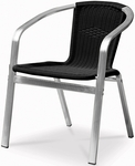 Bermuda Stackable Dining Arm Chair with Polished Aluminum Frame - Black [SC-2204-163-BLK-SCON]