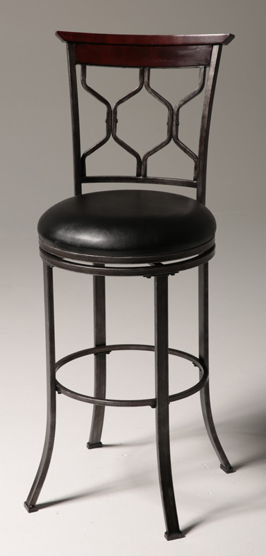 Tallahassee 26 39 39 H Armless Swivel Counter Stool With Black Faux Leather Seat Heritage Silver
