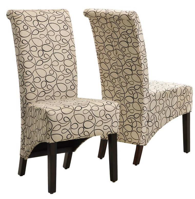 High back swirl fabric 40 39 39 h parson chairs with solid wood for High back parsons chair
