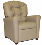 Kids Recliner with Button Tufted Back - Taupe [400-TAUPE-VINYL-FS-BZ]