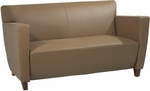 OSP Furniture Leather Love Seat with Cherry Finish - Taupe [SL8872-FS-OS]