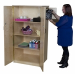 Teacher's Lock-It-Up Cabinet with Four Large Storage Shelves and Separate Locked Top Compartment - Assembled - 31''W x 26''D x 61''H [18400-WDD]