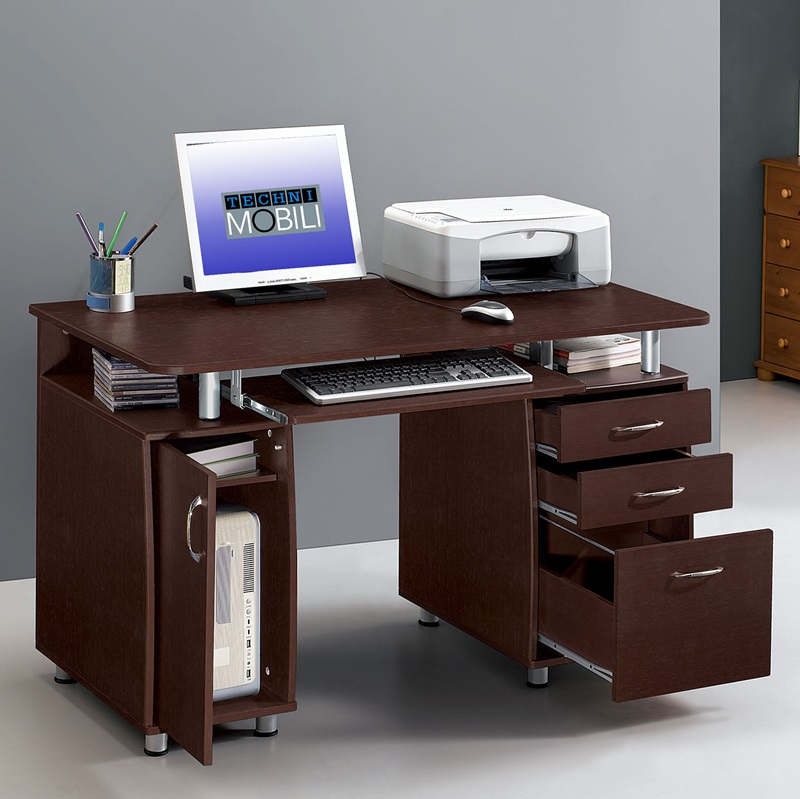 Techni Mobili Complete Computer Desk Chocolate Rta 4985