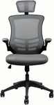Techni Mobili Executive High Back Chair with Headrest - Silver Grey [RTA-80X5-SG-FS-RTAP]