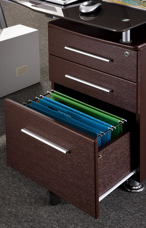 Techni Mobili Glass Top Desk With Built In File Cabinet