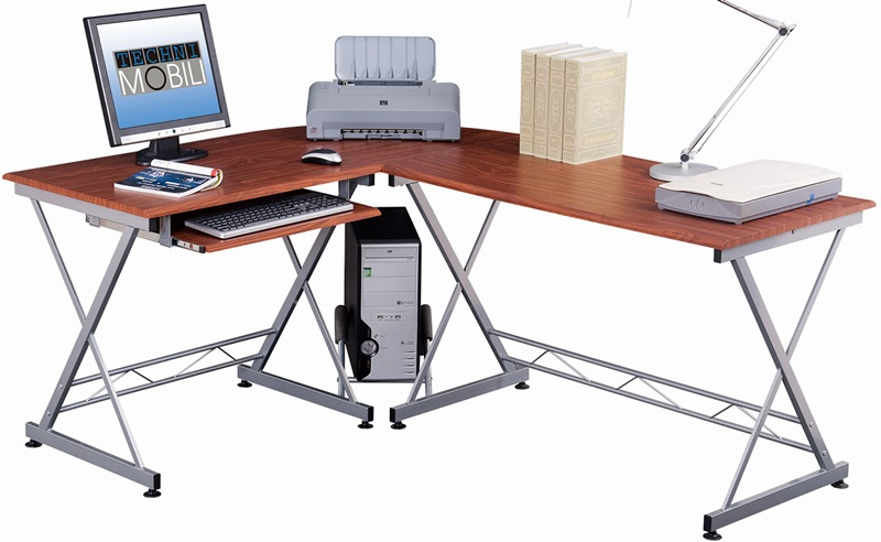 Techni Mobili L Shape Computer Desk Mahogany RTA2212M615 by