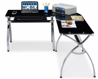 Techni Mobili LShaped Computer Desk Black Glass RTA0039LCBK