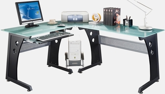 Techni Mobili Lshaped Glass Computer Desk Graphite RTA3803