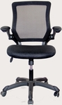Techni Mobili Mesh Task Chair with Flip-Up Arms - Black [RTA-8050-BK-FS-RTAP]