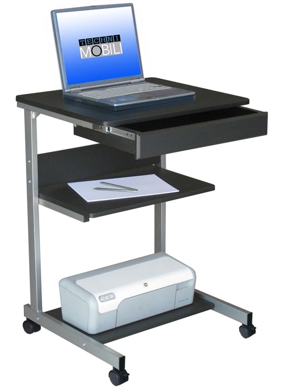 Techni Mobili Rolling Laptop Desk With Storage Graphite