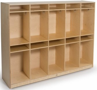 Ten section laminate birchwood coat locker with hooks and for Ample storage space