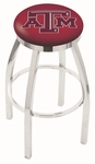 Texas A&M University 25'' Chrome Finish Swivel Backless Counter Height Stool with Accent Ring [L8C2C25TEXA-M-FS-HOB]
