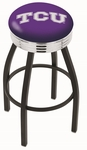 Texas Christian University 25'' Black Wrinkle Finish Swivel Backless Counter Height Stool with Ribbed Accent Ring [L8B3C25TEXCHR-FS-HOB]