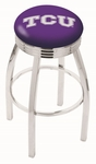 Texas Christian University 25'' Chrome Finish Swivel Backless Counter Height Stool with 2.5'' Ribbed Accent Ring [L8C3C25TEXCHR-FS-HOB]