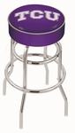 Texas Christian University 25'' Chrome Finish Double Ring Swivel Backless Counter Height Stool with 4'' Thick Seat [L7C125TEXCHR-FS-HOB]