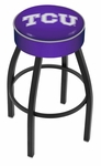 Texas Christian University 25'' Black Wrinkle Finish Swivel Backless Counter Height Stool with 4'' Thick Seat [L8B125TEXCHR-FS-HOB]