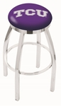 Texas Christian University 25'' Chrome Finish Swivel Backless Counter Height Stool with Accent Ring [L8C2C25TEXCHR-FS-HOB]