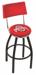 The Ohio State University 25'' Black Wrinkle Finish Swivel Counter Height Stool with Cushioned Back [L8B425OHIOST-FS-HOB]