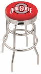 The Ohio State University 25'' Chrome Finish Double Ring Swivel Backless Counter Height Stool with Ribbed Accent Ring [L7C3C25OHIOST-FS-HOB]