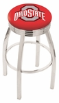 The Ohio State University 25'' Chrome Finish Swivel Backless Counter Height Stool with 2.5'' Ribbed Accent Ring [L8C3C25OHIOST-FS-HOB]