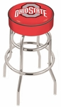 The Ohio State University 25'' Chrome Finish Double Ring Swivel Backless Counter Height Stool with 4'' Thick Seat [L7C125OHIOST-FS-HOB]