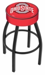 The Ohio State University 25'' Black Wrinkle Finish Swivel Backless Counter Height Stool with 4'' Thick Seat [L8B125OHIOST-FS-HOB]