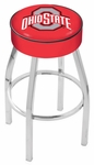 The Ohio State University 25'' Chrome Finish Swivel Backless Counter Height Stool with 4'' Thick Seat [L8C125OHIOST-FS-HOB]