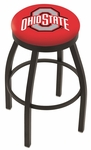 The Ohio State University 25'' Black Wrinkle Finish Swivel Backless Counter Height Stool with Accent Ring [L8B2B25OHIOST-FS-HOB]