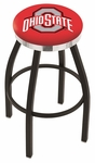 The Ohio State University 25'' Black Wrinkle Finish Swivel Backless Counter Height Stool with Chrome Accent Ring [L8B2C25OHIOST-FS-HOB]
