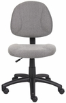 Deluxe Thick Padded Armless Task Chair with Lumbar Support and Nylon Base - Grey [B315-GY-FS-BOSS]
