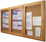 Three Door Enclosed Oak Bulletin Board - 36''H x 72''W [MB-306-MSH]