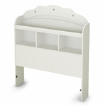 Tiara Collection Twin Bookcase Headboard in White [3650098-FS-SS]
