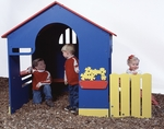 Polyethylene Constructed Tot Town Playhouse with Built In Handles and Slightly Sloped Ramp - 50''W x 50''D x 54''H [902-803-SPEI]