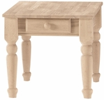 Traditional Solid Parawood 22''W X 25''H End Table with Drawer - Unfinished [BJ7TE-FS-WHT]