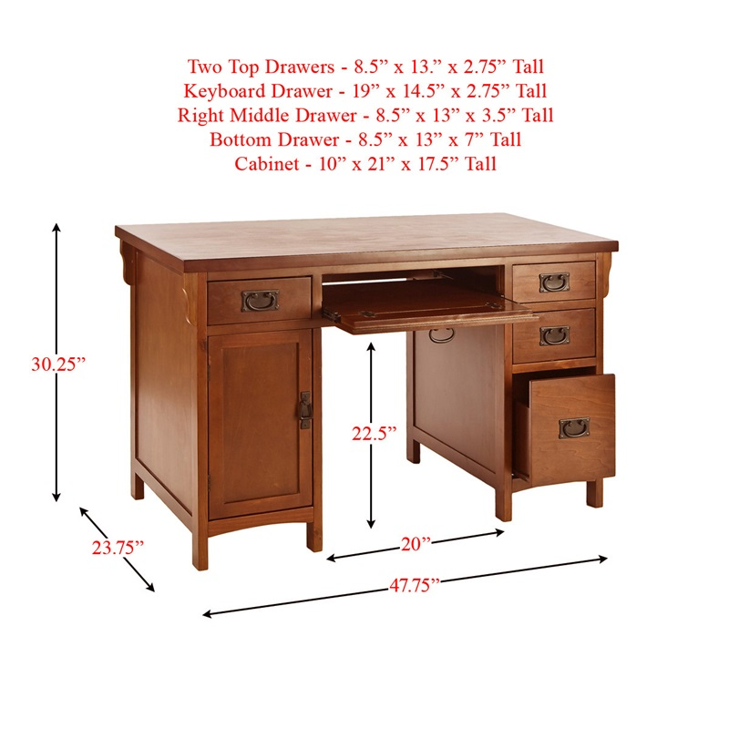 traditional mission style 47.75''w x 30.25''h computer desk with