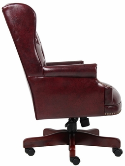 traditional button tufted wing back executive chair - oxblood