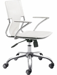 Trafico Mid-Back Chair in White [205182-FS-ZUO]