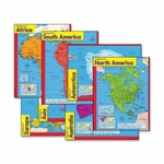 Trend Enterprises Continents Learning Charts - 17'' x 22'' - Multicolor [TEP38930-FS-SP]