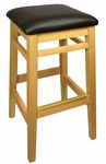 Trevor Natural Wood Backless Barstool - Black Vinyl Seat [LWB680NTBLV-BFMS]