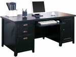 kathy ireland Home™ Tribeca Loft Collection 68.25''W x 29''H Double Pedestal Computer Desk - Midnight Smoke Black [TL685-FS-KIMF]