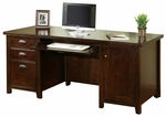 kathy ireland Home™ Tribeca Loft Collection 68.25''W x 29''H Double Pedestal Computer Desk - Burnt Umber Cherry [TLC685-FS-KIMF]