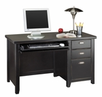 kathy ireland Home™ Tribeca Loft Collection 52''W x 29''H Single Pedestal Desk - Midnight Smoke Black [TL540-FS-KIMF]