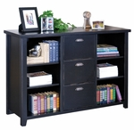 kathy ireland Home™ Tribeca Loft Collection 59.25''W x 40.75''H Three Drawer File Bookcase - Midnight Smoke Black [TL504-FS-KIMF]
