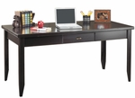 kathy ireland Home™ Tribeca Loft Collection 64''W x 29''H Writing Table - Midnight Smoke Black [TL384-FS-KIMF]