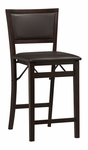 Triena Folding 24''H Counter Height Stool with Dark Brown Vinyl Padded Seat and Back - Espresso [01831ESP-01-AS-U-FS-LIN]